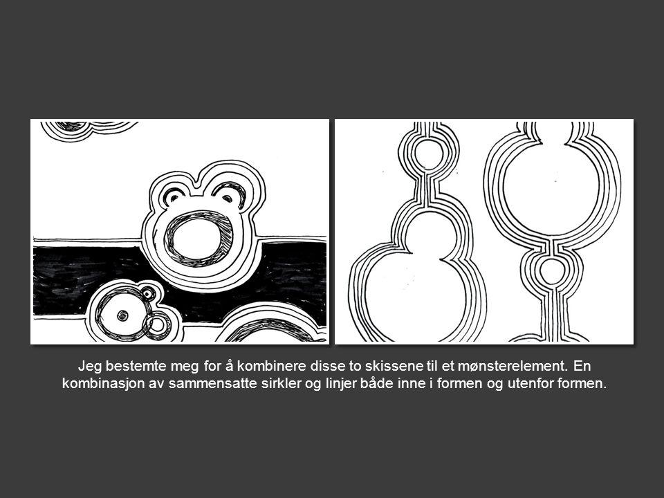 Jeg bestemte meg for å kombinere disse to skissene til et mønsterelement.