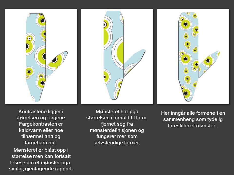 Her inngår alle formene i en sammenheng som tydelig forestiller et mønster .