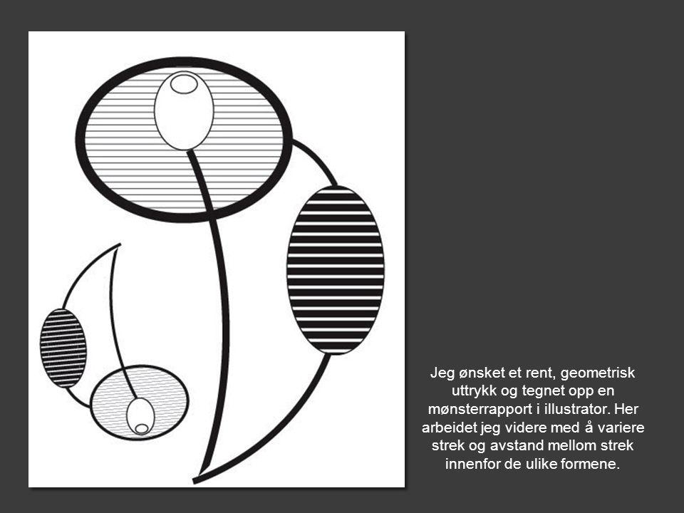 Jeg ønsket et rent, geometrisk uttrykk og tegnet opp en mønsterrapport i illustrator.