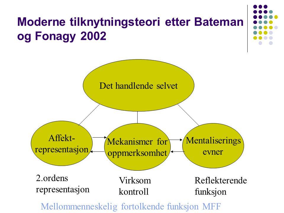 Moderne tilknytningsteori etter Bateman og Fonagy 2002