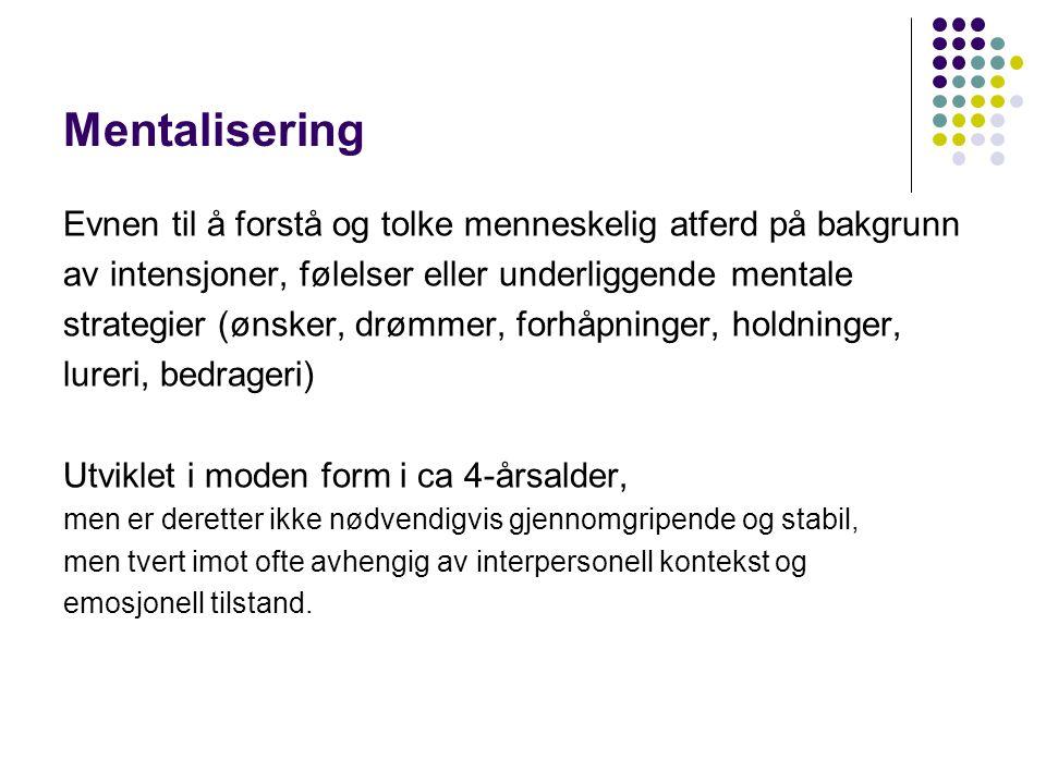 Mentalisering Evnen til å forstå og tolke menneskelig atferd på bakgrunn. av intensjoner, følelser eller underliggende mentale.