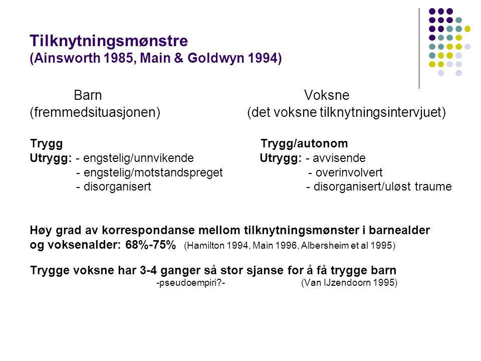 Tilknytningsmønstre (Ainsworth 1985, Main & Goldwyn 1994)