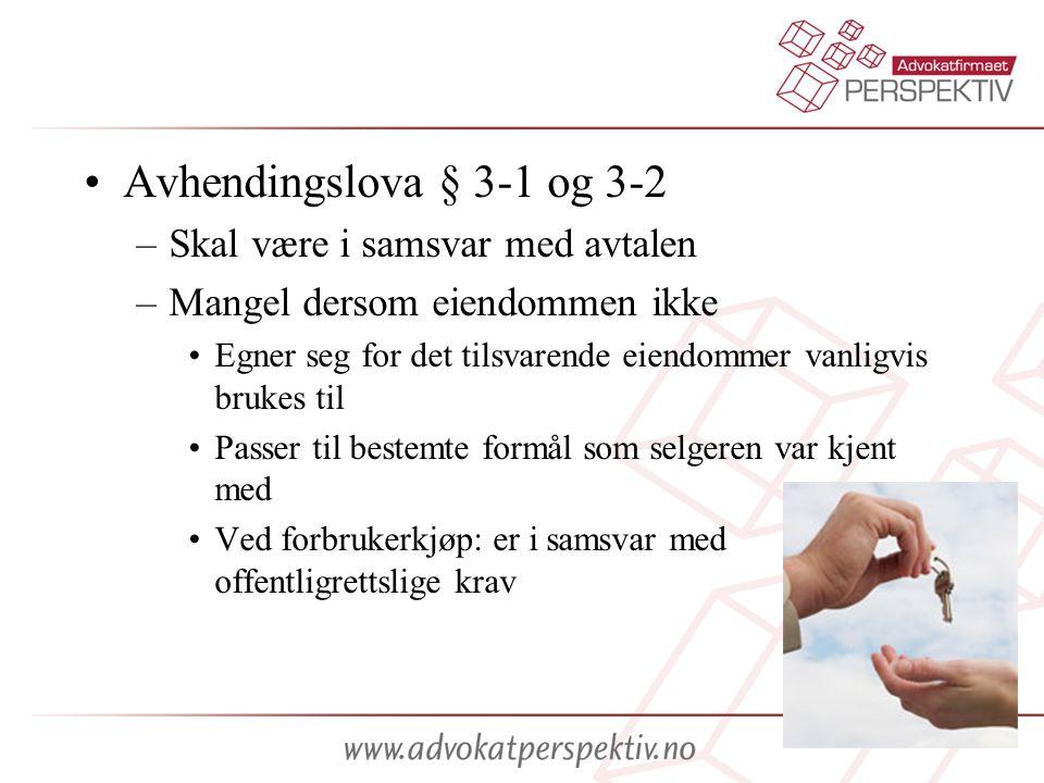 Avhendingslova § 3-1 og 3-2 Skal være i samsvar med avtalen