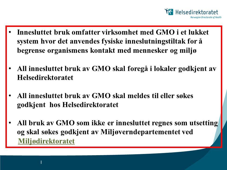 Innesluttet bruk omfatter virksomhet med GMO i et lukket system hvor det anvendes fysiske inneslutningstiltak for å begrense organismens kontakt med mennesker og miljø