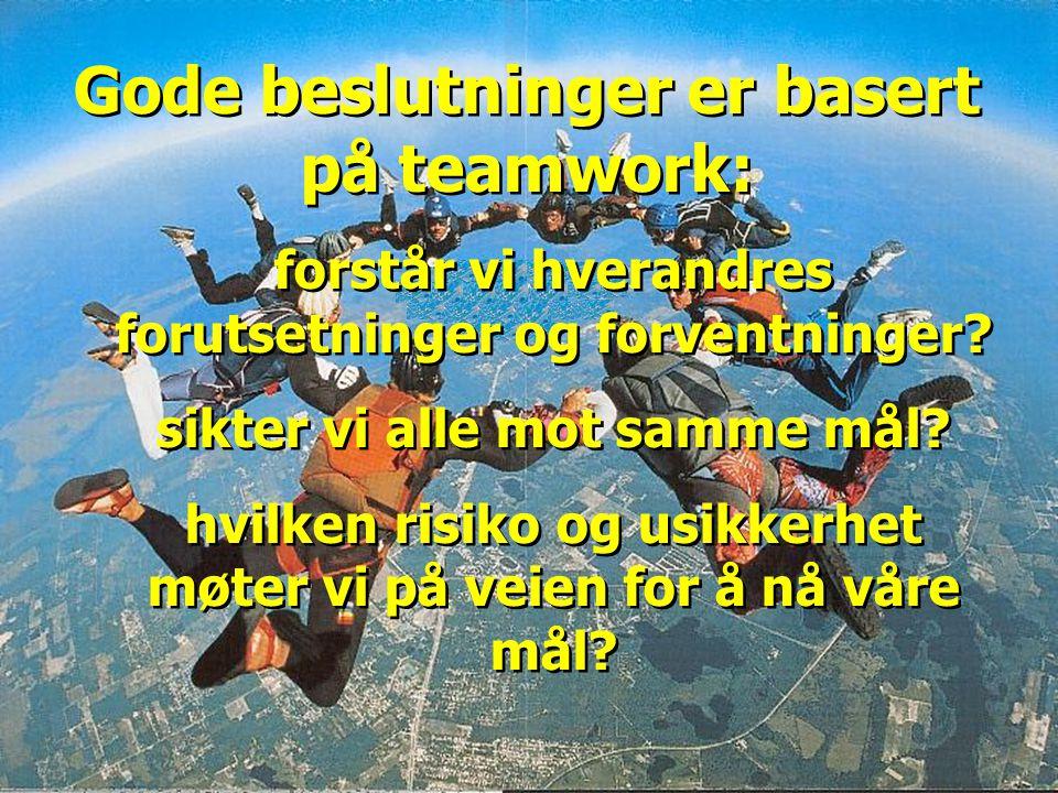 Gode beslutninger er basert på teamwork: