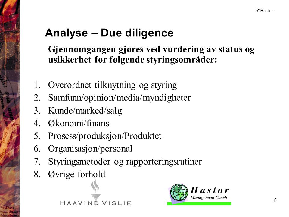 Analyse – Due diligence