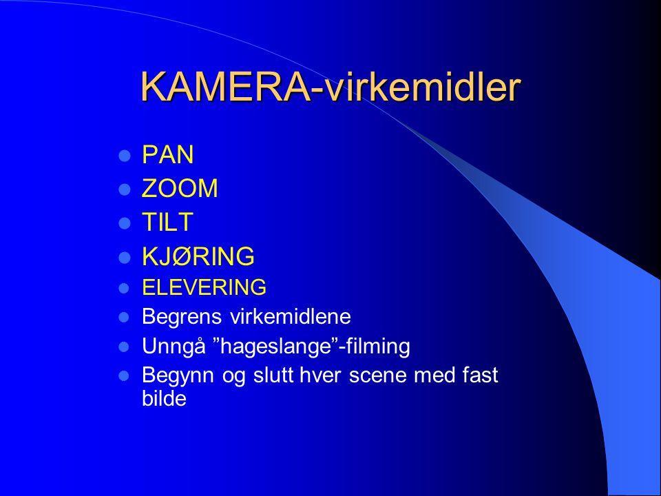 KAMERA-virkemidler PAN ZOOM TILT KJØRING ELEVERING