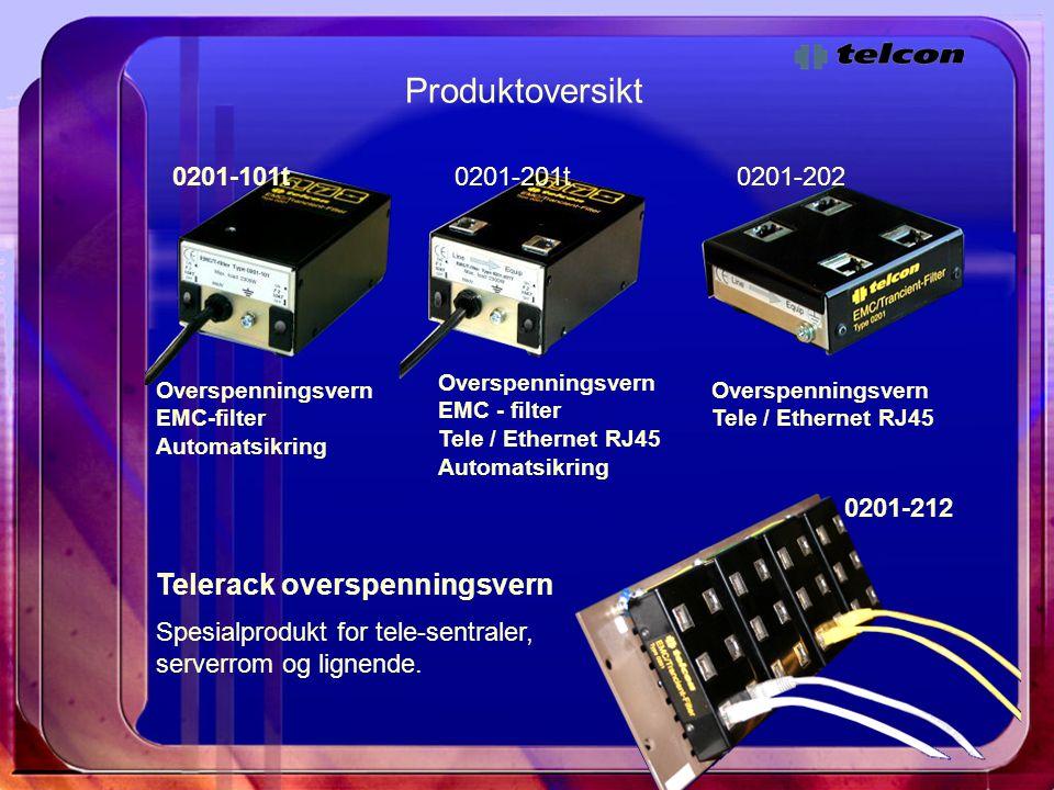 Produktoversikt Telerack overspenningsvern 0201-101t 0201-201t