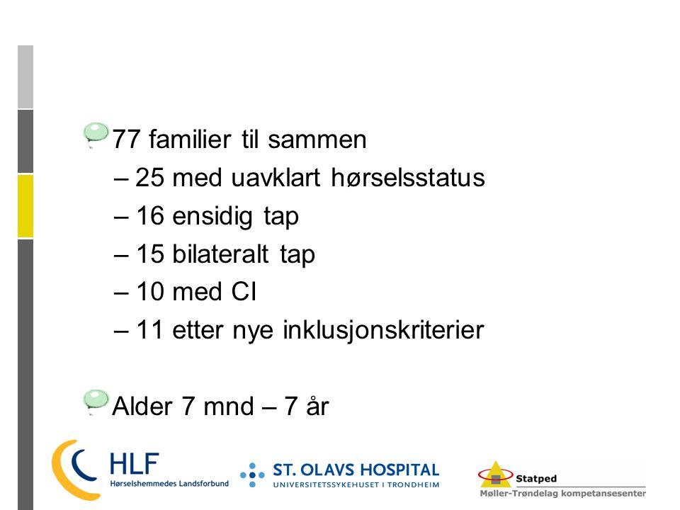 77 familier til sammen 25 med uavklart hørselsstatus. 16 ensidig tap. 15 bilateralt tap. 10 med CI.