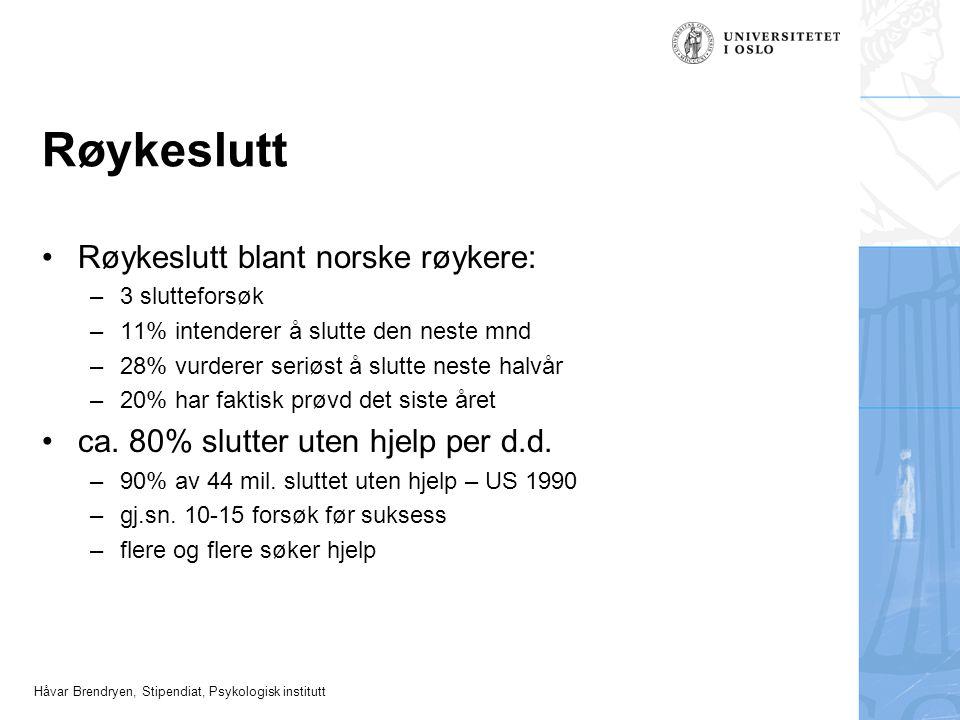 Røykeslutt Røykeslutt blant norske røykere: