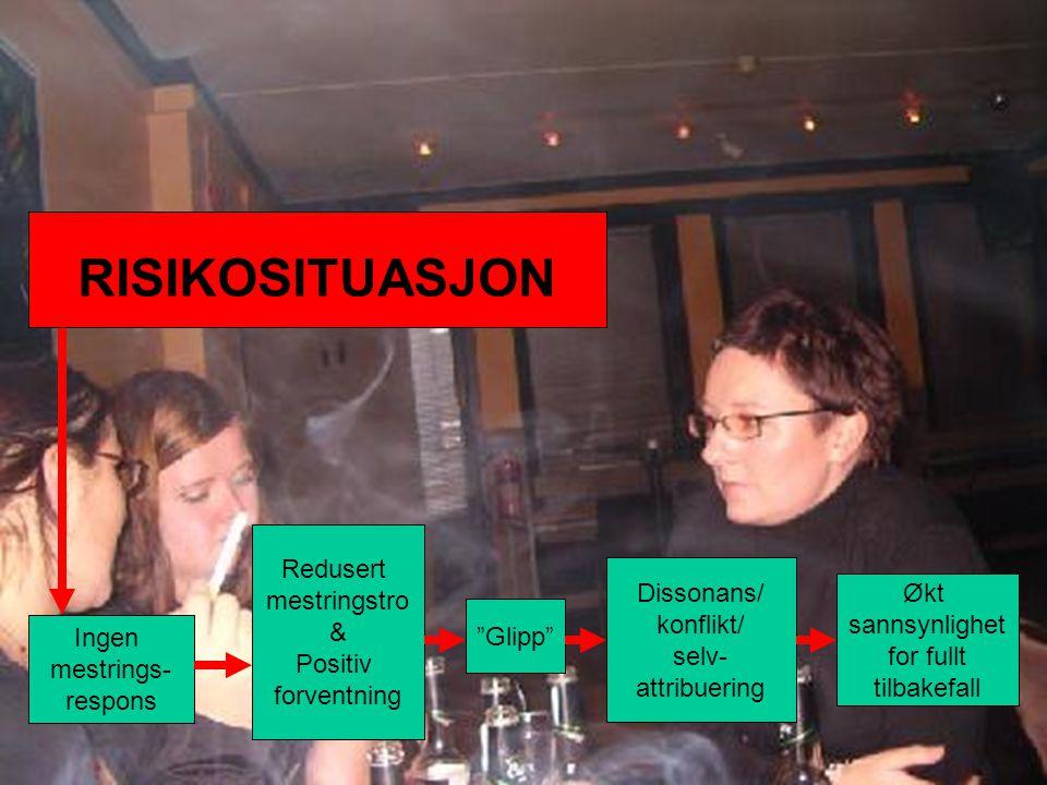 RISIKOSITUASJON Redusert mestringstro Dissonans/ & Økt konflikt/