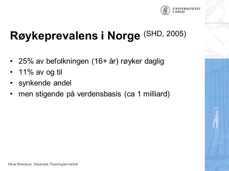 Røykeprevalens i Norge (SHD, 2005)