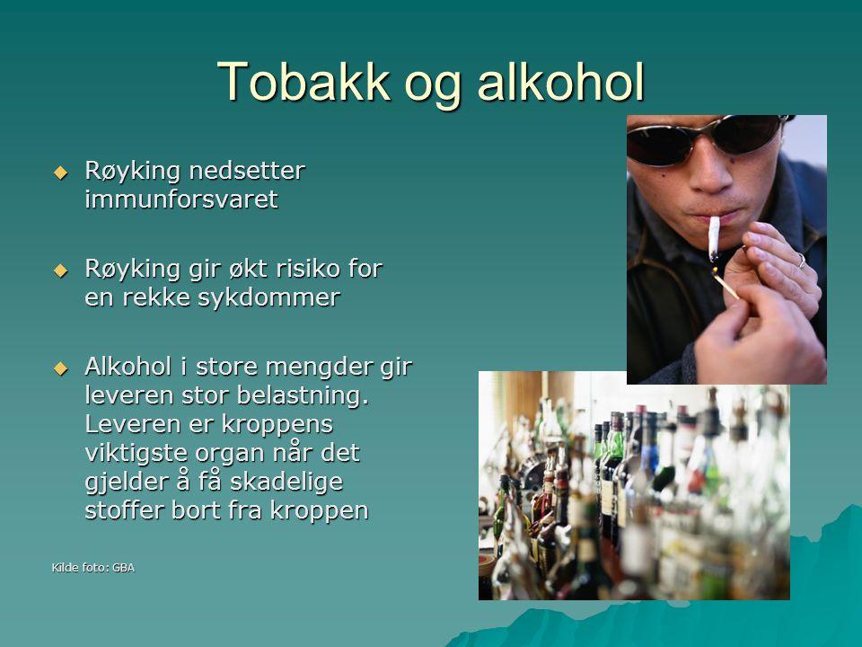 Tobakk og alkohol Røyking nedsetter immunforsvaret