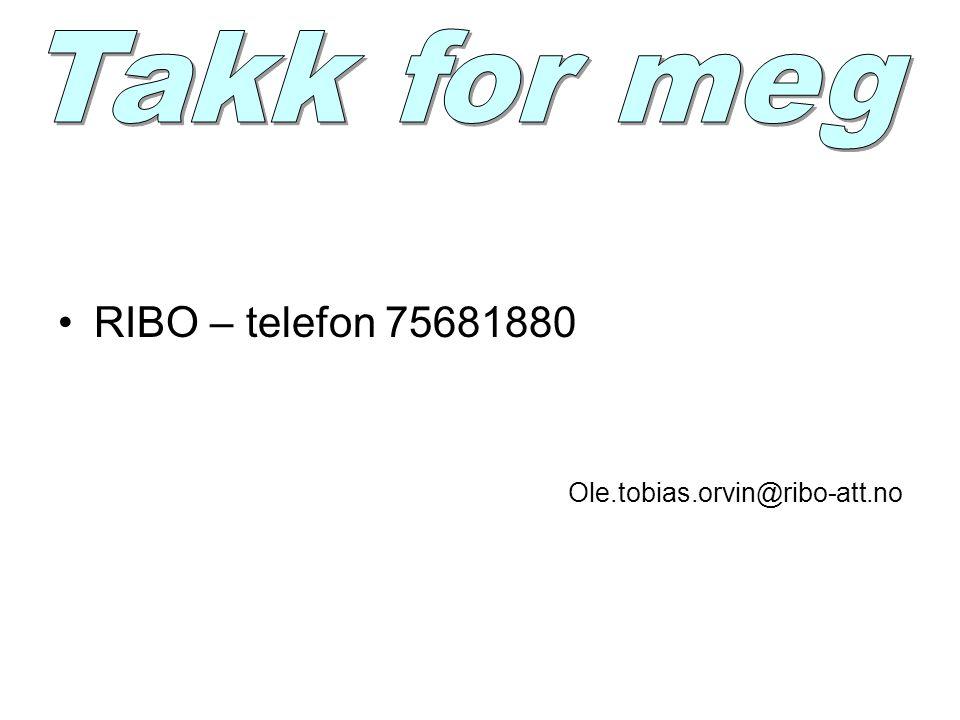 Takk for meg RIBO – telefon 75681880 Ole.tobias.orvin@ribo-att.no