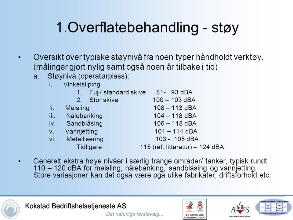 1.Overflatebehandling - støy
