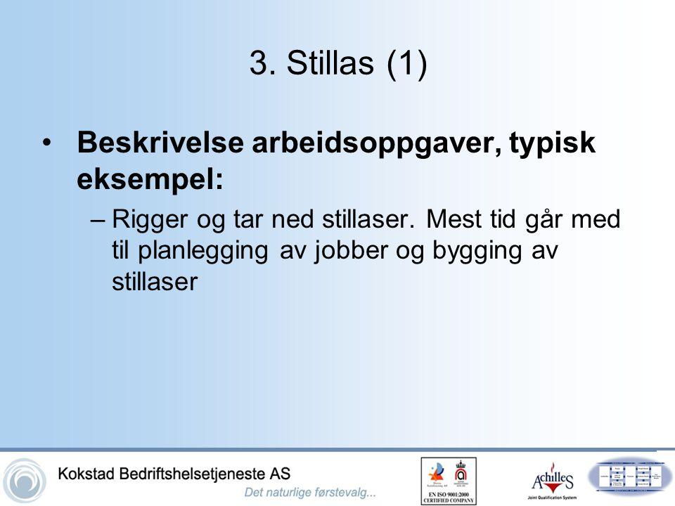 3. Stillas (1) Beskrivelse arbeidsoppgaver, typisk eksempel:
