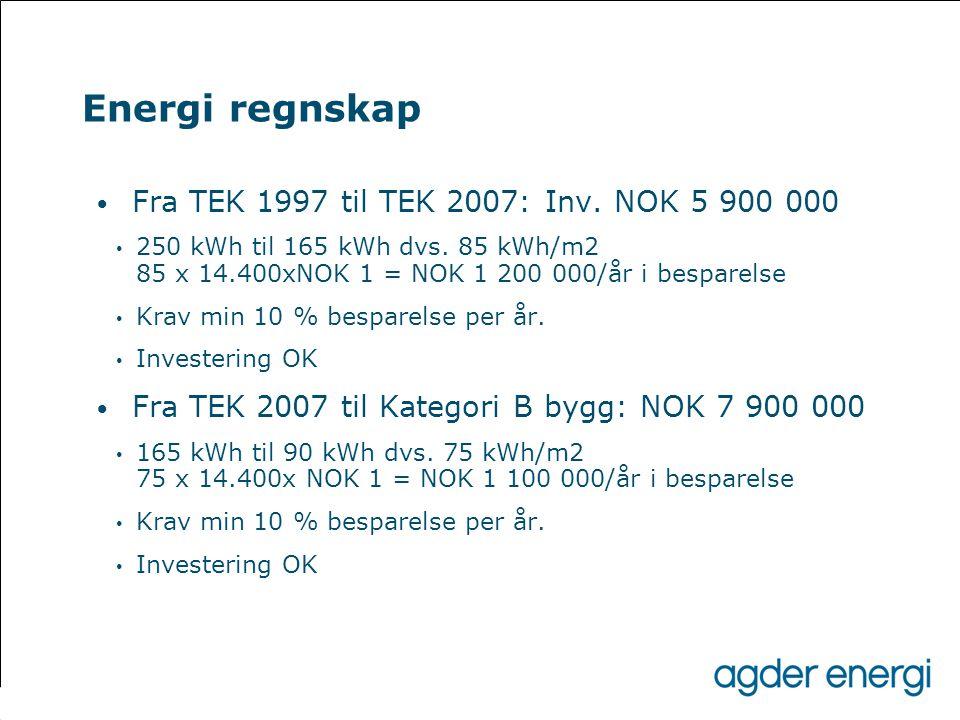 Energi regnskap Fra TEK 1997 til TEK 2007: Inv. NOK 5 900 000