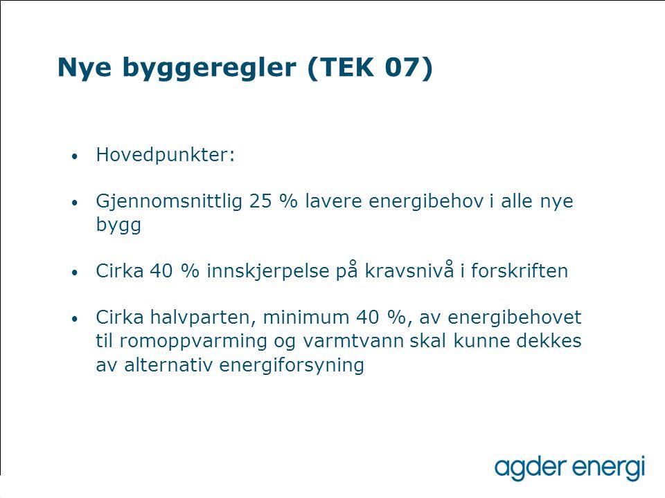Nye byggeregler (TEK 07) Hovedpunkter: