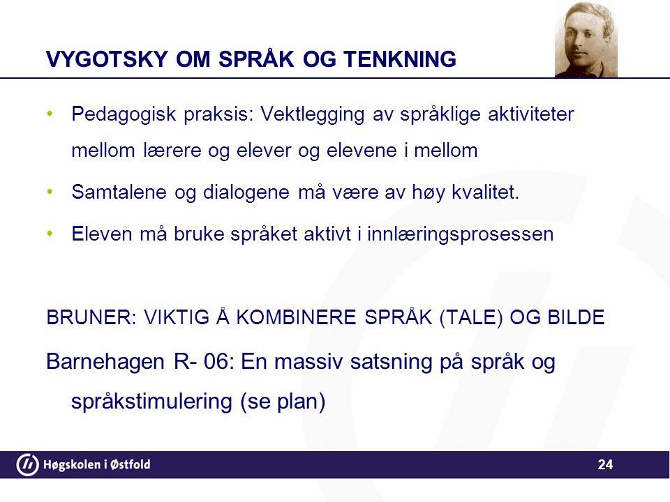 VYGOTSKY OM SPRÅK OG TENKNING