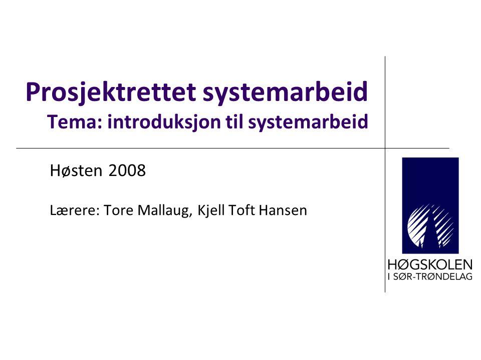 Prosjektrettet systemarbeid Tema: introduksjon til systemarbeid