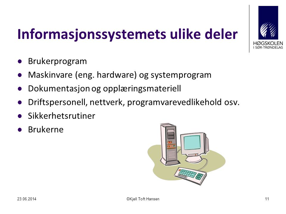 Informasjonssystemets ulike deler