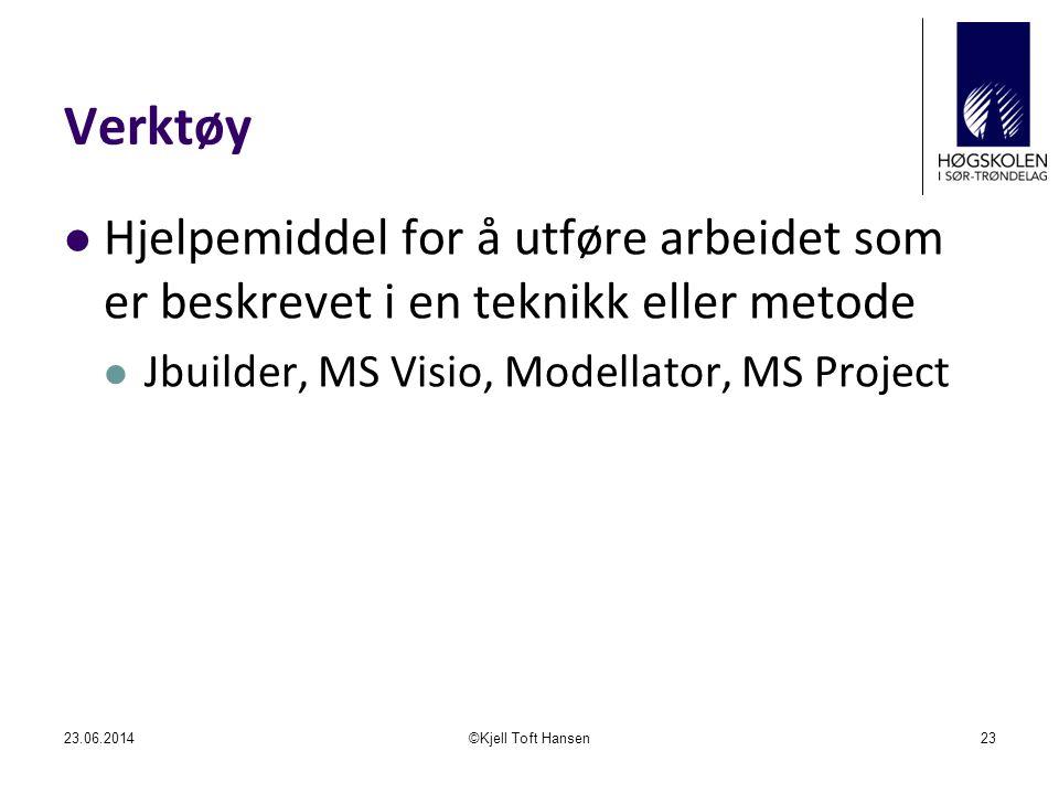 Verktøy Hjelpemiddel for å utføre arbeidet som er beskrevet i en teknikk eller metode. Jbuilder, MS Visio, Modellator, MS Project.
