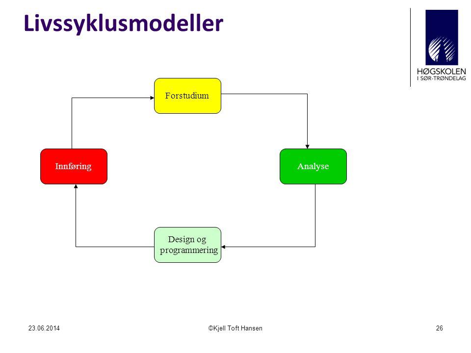 Livssyklusmodeller Forstudium Innføring Analyse Design og