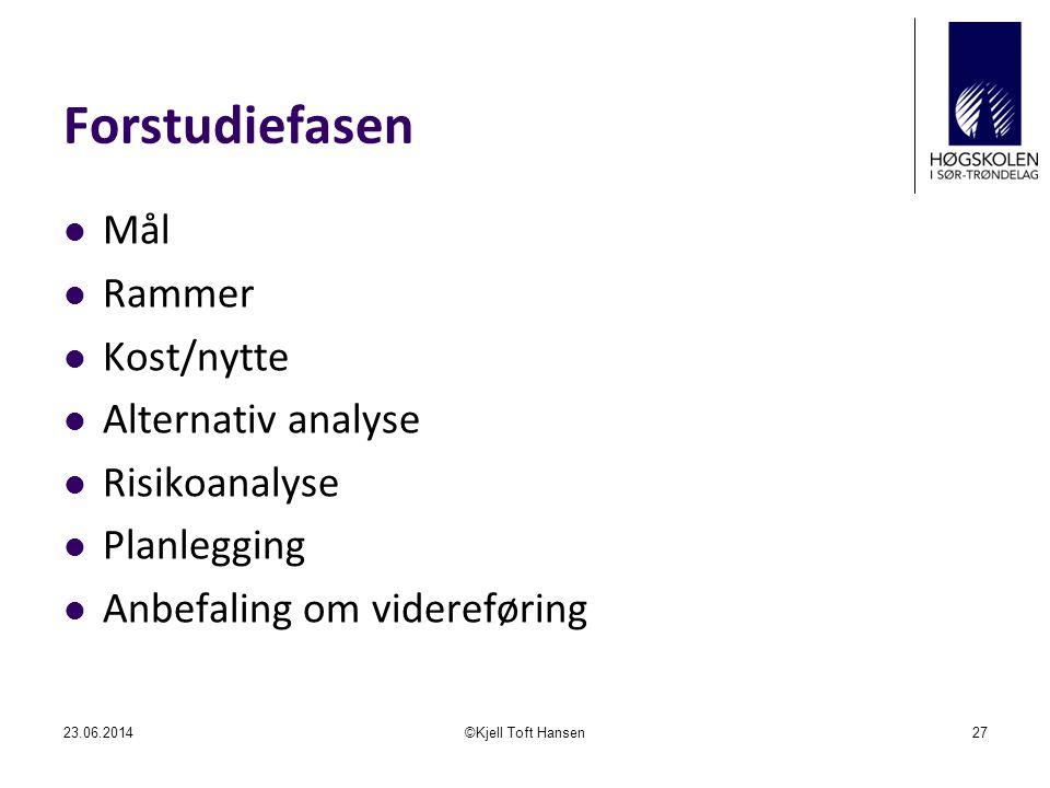 Forstudiefasen Mål Rammer Kost/nytte Alternativ analyse Risikoanalyse