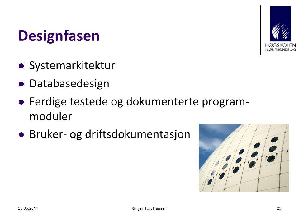 Designfasen Systemarkitektur Databasedesign