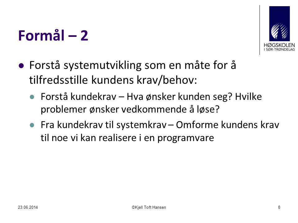 Formål – 2 Forstå systemutvikling som en måte for å tilfredsstille kundens krav/behov: