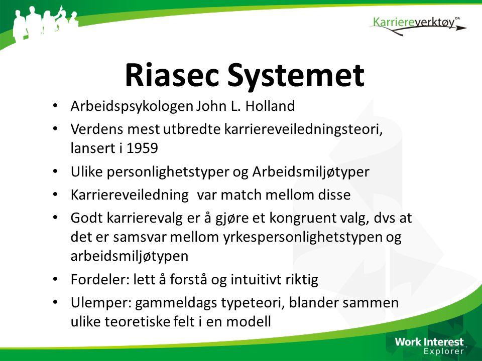 Riasec Systemet Arbeidspsykologen John L. Holland
