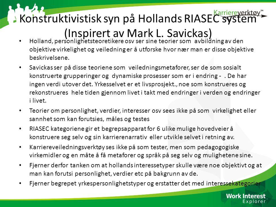 Konstruktivistisk syn på Hollands RIASEC system (Inspirert av Mark L