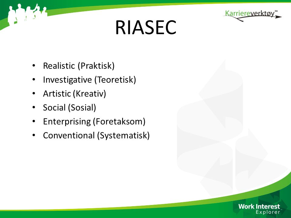 RIASEC Realistic (Praktisk) Investigative (Teoretisk)