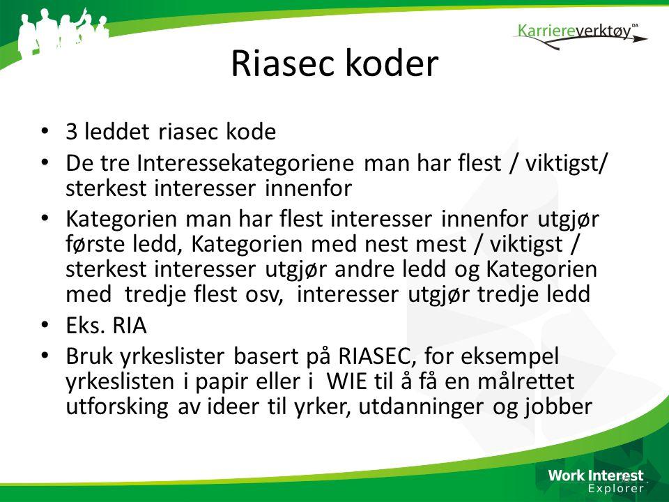 Riasec koder 3 leddet riasec kode
