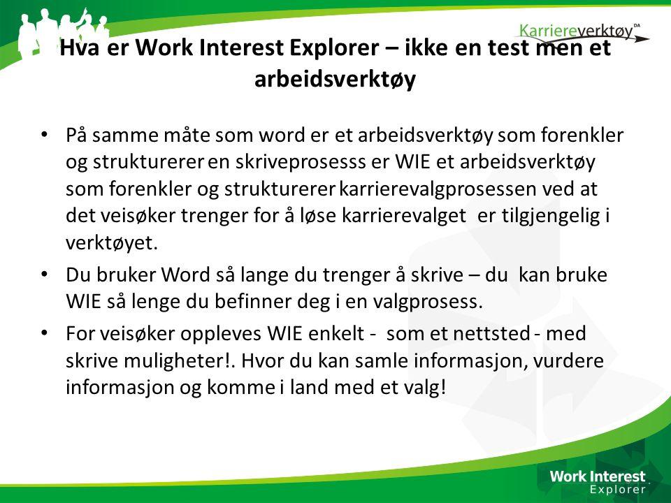 Hva er Work Interest Explorer – ikke en test men et arbeidsverktøy