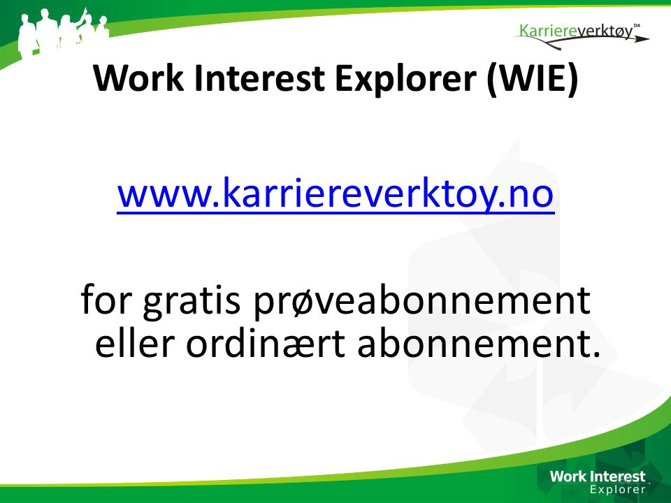 Work Interest Explorer (WIE)