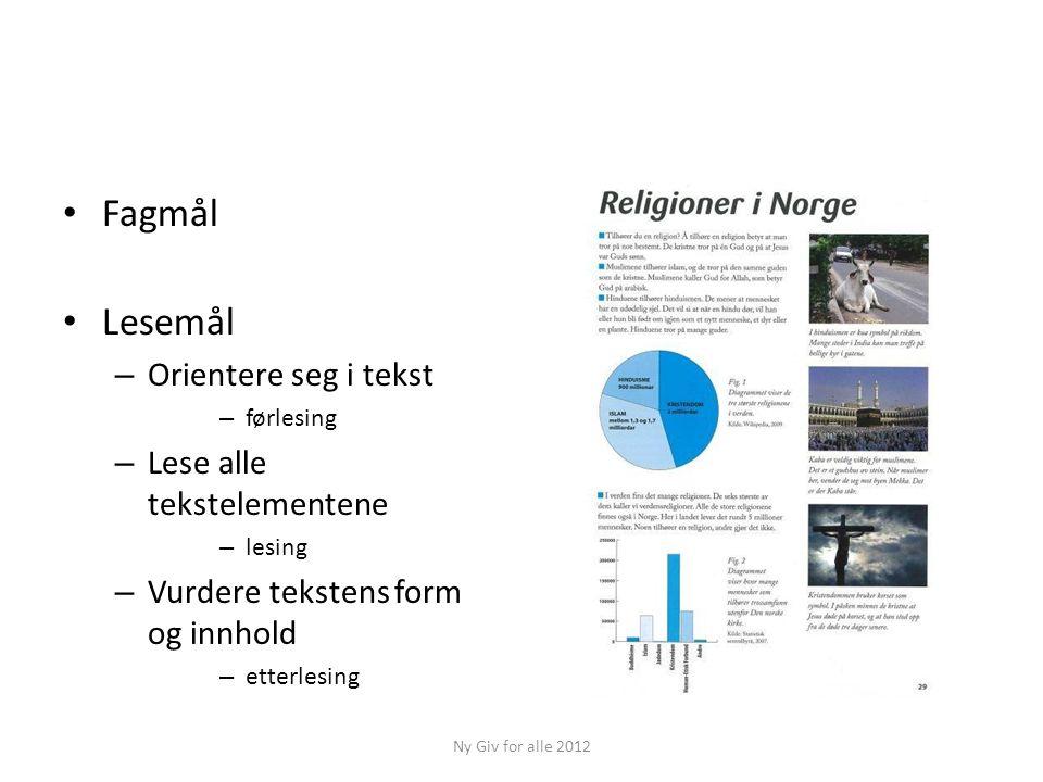 Fagmål Lesemål Orientere seg i tekst Lese alle tekstelementene