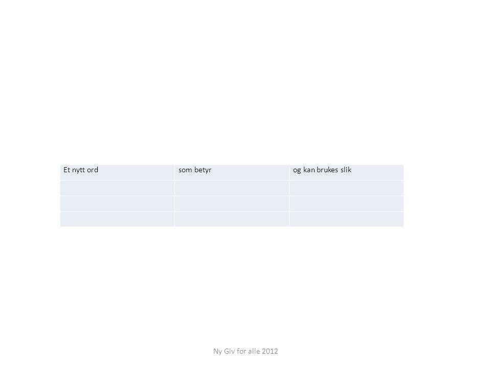 Et nytt ord som betyr og kan brukes slik Ny Giv for alle 2012