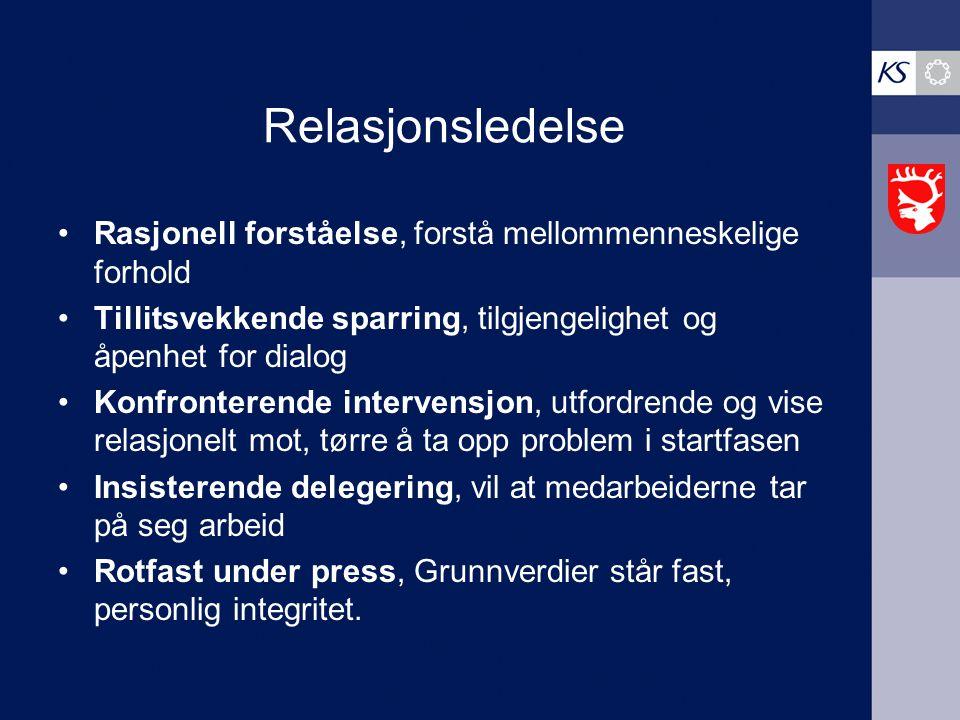 Relasjonsledelse Rasjonell forståelse, forstå mellommenneskelige forhold. Tillitsvekkende sparring, tilgjengelighet og åpenhet for dialog.