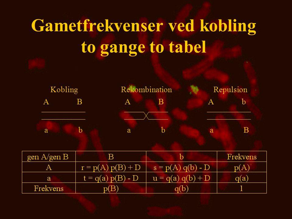 Gametfrekvenser ved kobling to gange to tabel