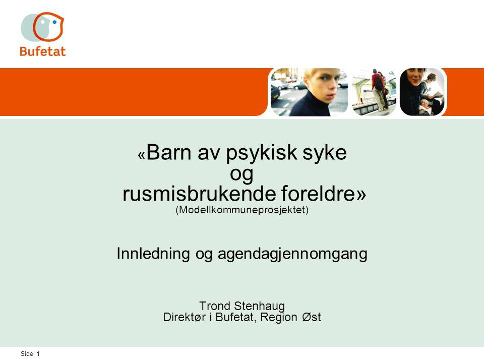 «Barn av psykisk syke og rusmisbrukende foreldre» (Modellkommuneprosjektet) Innledning og agendagjennomgang Trond Stenhaug Direktør i Bufetat, Region Øst