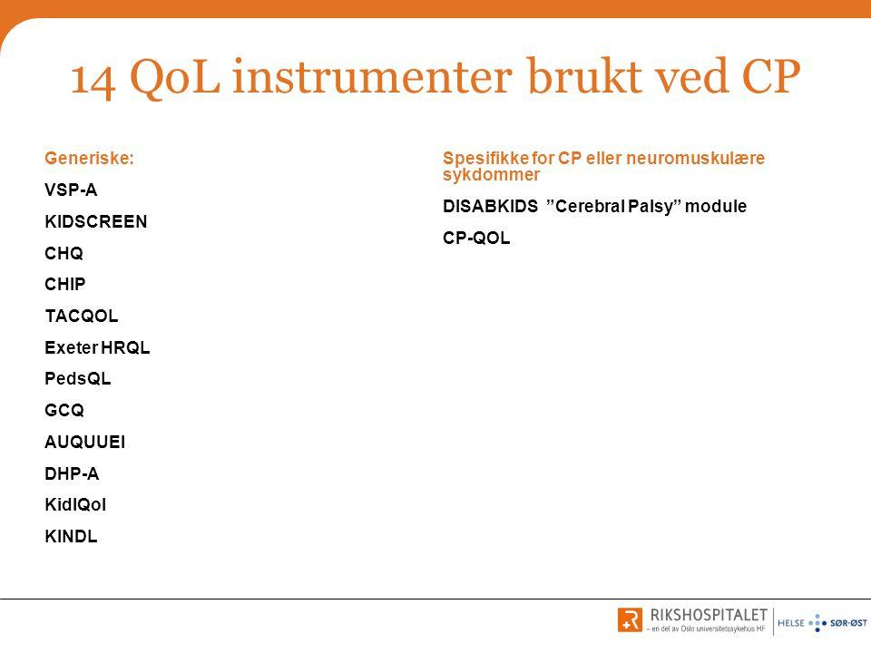 14 QoL instrumenter brukt ved CP
