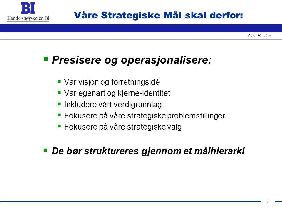 Våre Strategiske Mål skal derfor: