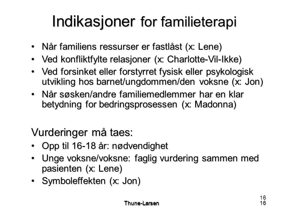 Indikasjoner for familieterapi