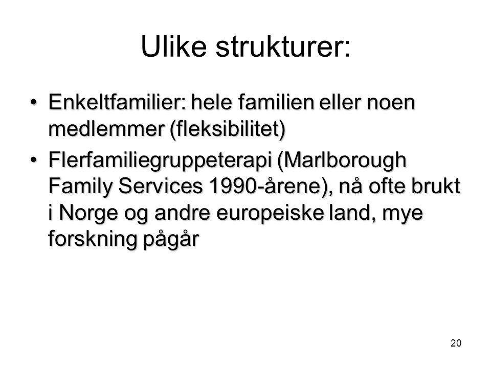 Ulike strukturer: Enkeltfamilier: hele familien eller noen medlemmer (fleksibilitet)