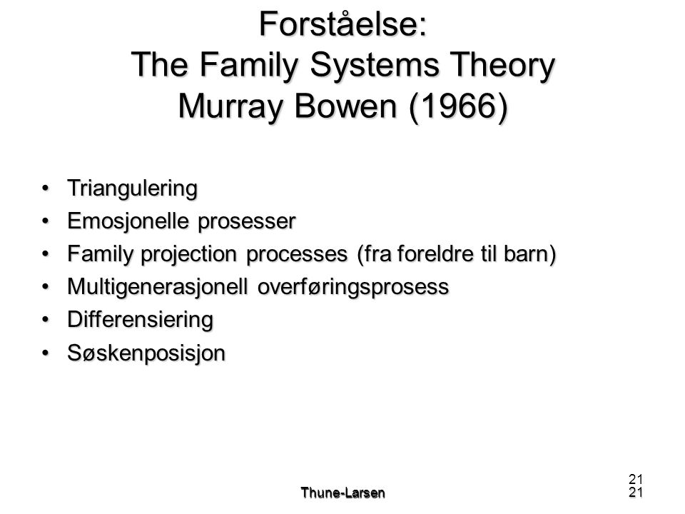Forståelse: The Family Systems Theory Murray Bowen (1966)