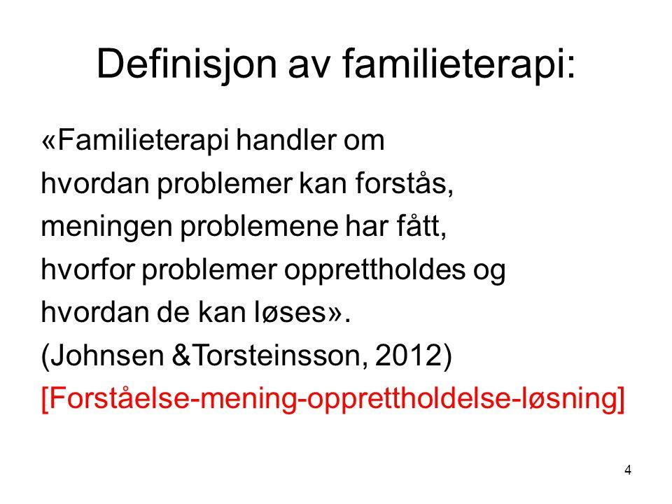 Definisjon av familieterapi:
