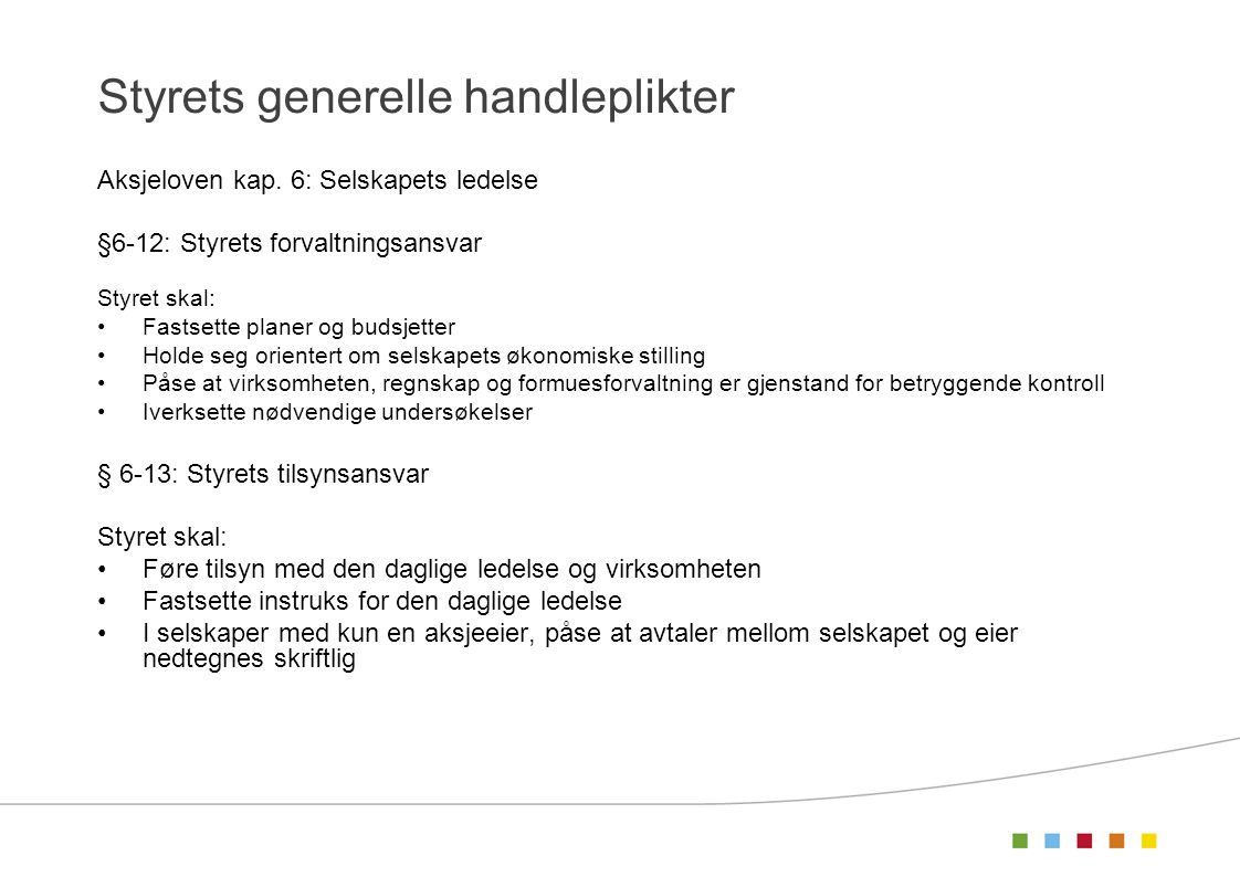 Styrets generelle handleplikter