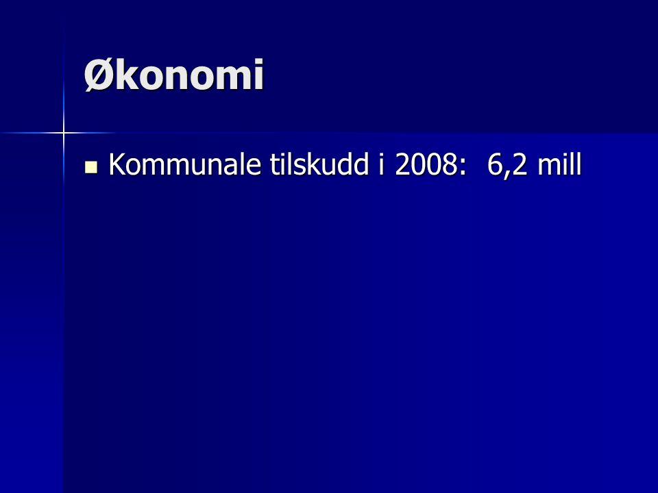 Økonomi Kommunale tilskudd i 2008: 6,2 mill
