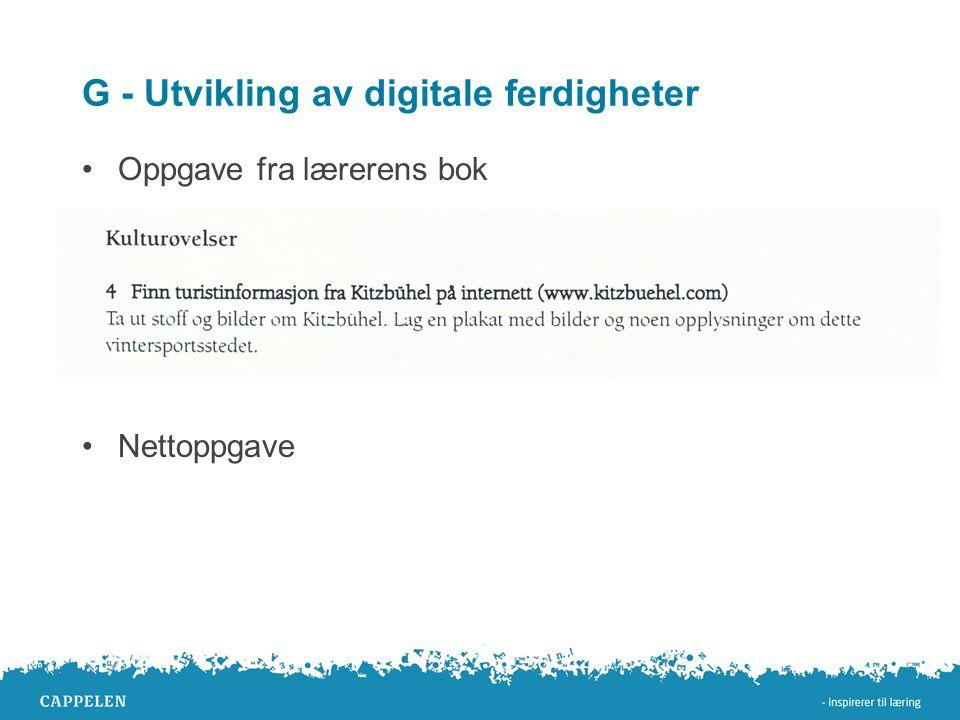 G - Utvikling av digitale ferdigheter